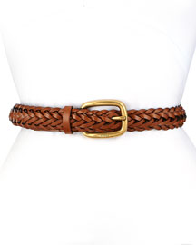 Square Buckle Braided Belt, Brown