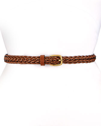 Square Buckle Skinny Braided Belt, Brown