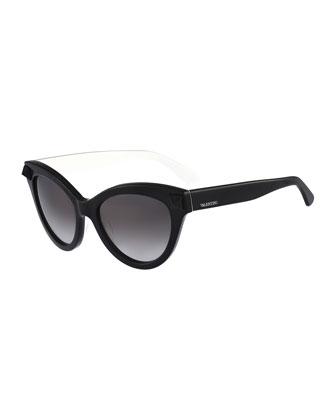 Tonal Rockstud-Temple Cat-Eye Sunglasses, Black