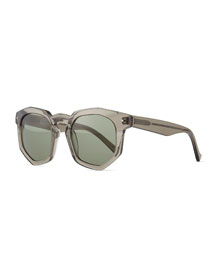 Composite Faceted Plastic Sunglasses, Gray