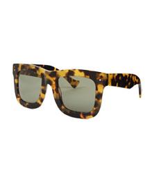 Composite Faceted Plastic Sunglasses, Black
