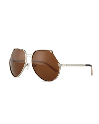 Embassy Cutoff Aviator Sunglasses, Silver/Brown
