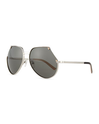 Embassy Cutoff Aviator Sunglasses, Silver/Gray
