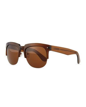 Kennedy Semi-Rimless Sunglasses, Brown