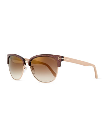 Fany Dual-Rim Sunglasses, Brown