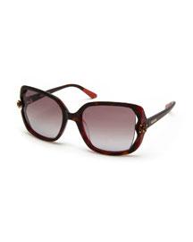 Crystal-Detail Square Sunglasses, Havana