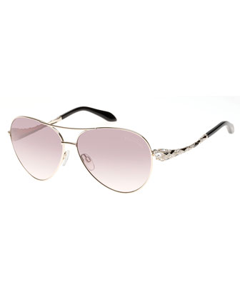 Muphrid Snake-Temple Aviator Sunglasses, Rose Golden