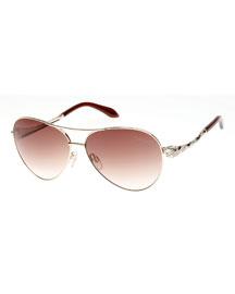 Muphrid Snake-Temple Aviator Sunglasses, Rose Golden/Brown