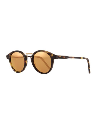Frank Round Mirror Sunglasses, Tortoise/Golden