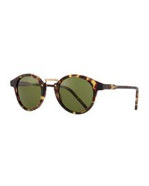 Frank Round Pantos Sunglasses, Tortoise/Green