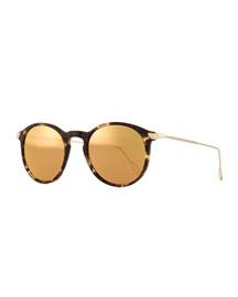 Mark Round Pantos Mirror Sunglasses, Tortoise Acetate/Gold