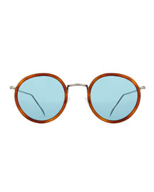 Matti Round Mirror Sunglasses, Light Brown/Blue