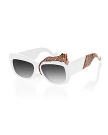 Rose Et La Mere Leopard Sunglasses, White