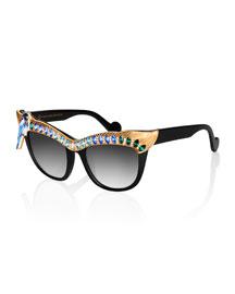 Magpie Cat-Eye Sunglasses, Golden/Blue