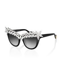 Decadence Crystal-Brow Sunglasses, Black