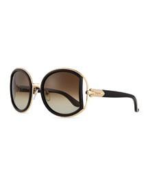 Round Sunglasses with Buckle Detail, Black