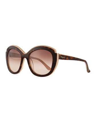 Rounded Square Sunglasses, Beige