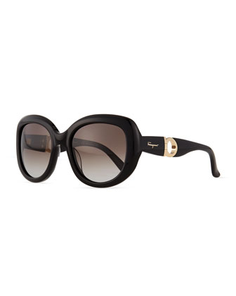 Gancini-Arm Sunglasses, Black
