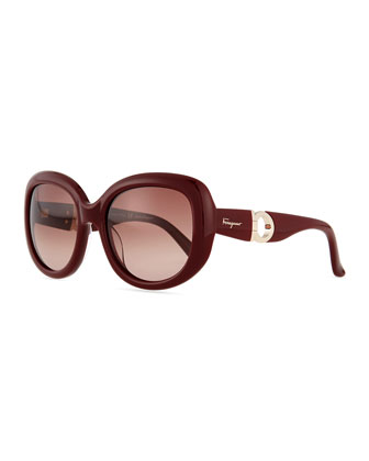 Gancini Arm Sunglasses, Burgundy