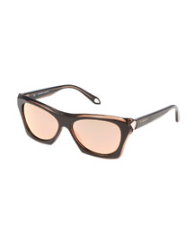 Faceted Square Sunglasses, Brown
