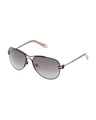 Matte Metal Aviator Sunglasses, Black