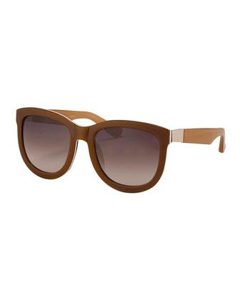 Rounded Square Sunglasses, Honey/White