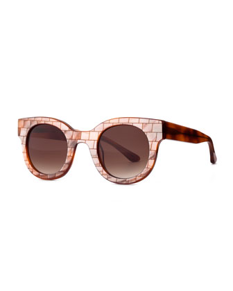 Celebrity Mosaic Round Sunglasses, Brown Pearl