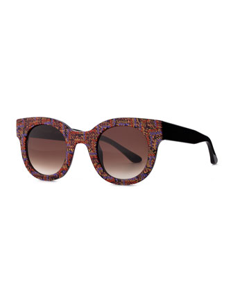 Celebrity Round Printed Sunglasses, Multi