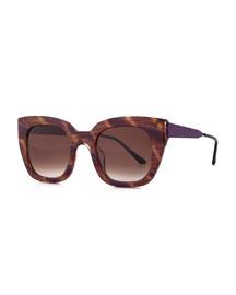 Swingy Square Sunglasses, Brown/Purple