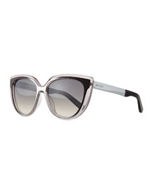 Cindy Cat-Eye Sunglasses, Gray/Black