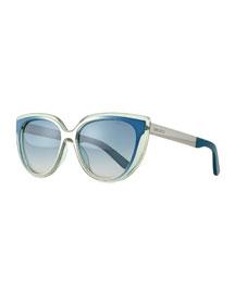 Cindy Cat-Eye Sunglasses, Aqua