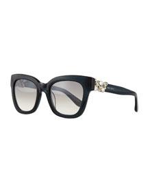 Maggie Jewel-Temple Sunglasses, Dark Gray