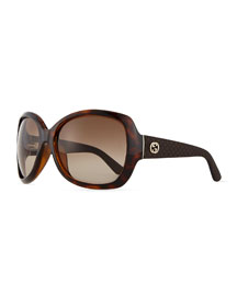 GG-Temple Butterfly Sunglasses, Havana