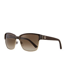 Dual-Rimmed GG-Temple Square Sunglasses, Brown/Golden