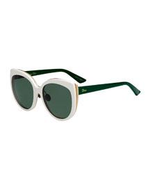 Diorific Butterfly Sunglasses, White/Green