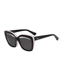 Graphic Square Sunglasses, Black/Pink/White