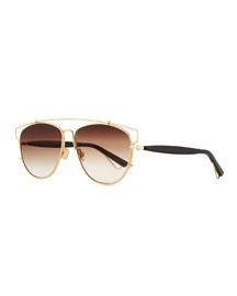 Technologic Cutout Aviator Sunglasses, Golden/Black