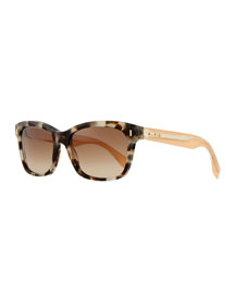 Universal Fit Rectangle Sunglasses, Beige