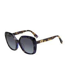 Universal-Fit Havana Square Sunglasses, Brown/Purple
