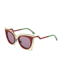 Runway Cat-Eye Sunglasses, Red/Beige