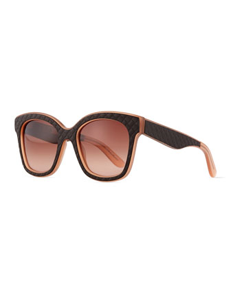 Quilt-Embossed Square Sunglasses, Brown/Pink