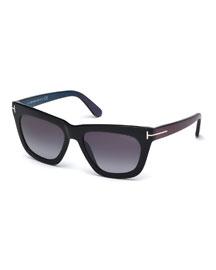 Celina T-Temple Sunglasses, Black/Blue