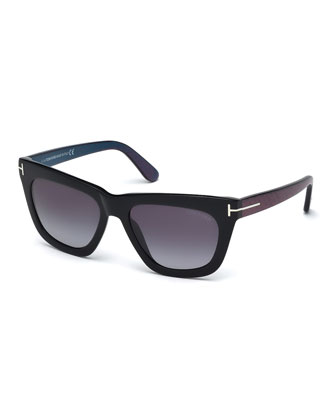 Celina T-Temple Sunglasses, Black/Blue