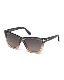 Celina Colorblock T-Temple Polarized Sunglasses, Gray/Pink