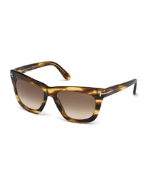 Celina T-Temple Polarized Sunglasses, Brown Stripes