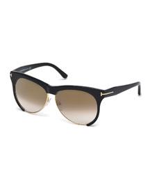 Leona Dual-Rimmed Sunglasses, Black/Gold