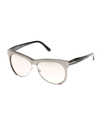 Leona Dual-Rimmed Sunglasses, Silver