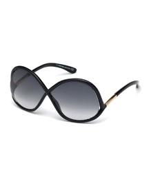 Ivanna Wrap Sunglasses, Black