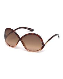 Ivanna Wrap Sunglasses, Brown/Pink
