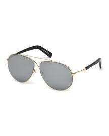 Eva Lighweight Aviator Sunglasses, Rose Gold/Gray